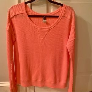 Free People Bright Pink Waffle Knit Pullover